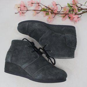 Toms Gray Wedge Booties Desert Boots Girls 3 Y3